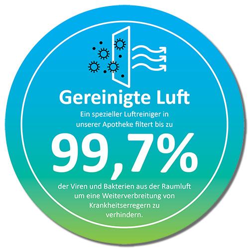 Ein spezieller Luftreiniger in unserer Apotheke filtert bis zu 99,7 % der Viren und Bakterien aus der Raumluft